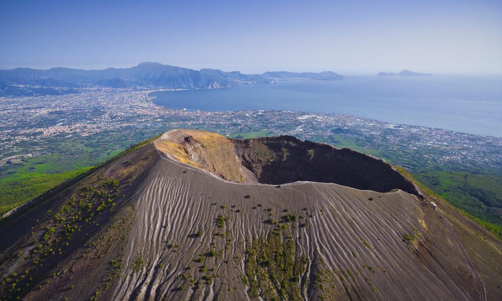 Mount Vesuvius, view of the Bay of Naples